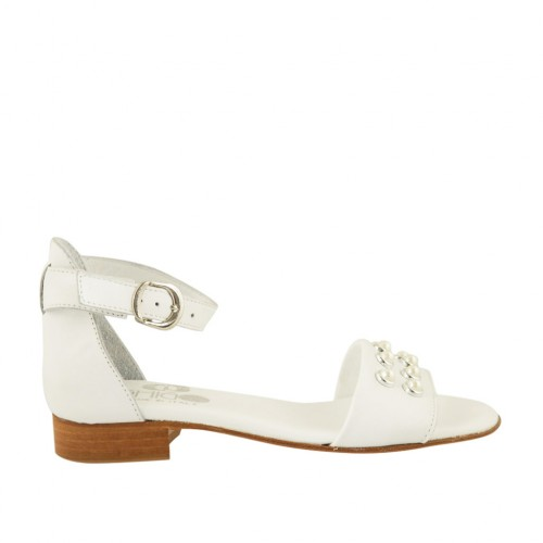 Woman's open shoe in white leather with strap and pearls heel 2 - Available sizes:  32, 33, 34, 43, 44