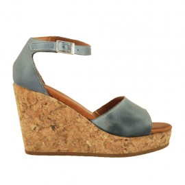 Woman's open shoe with strap and platform in blue grey leather wedge heel 9 - Available sizes:  32, 33, 34, 42, 43, 44, 45