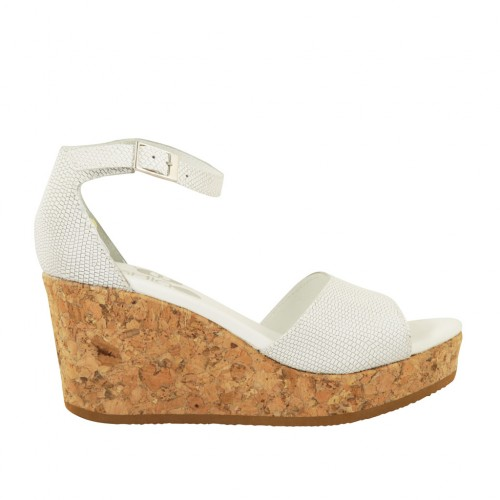 Woman's open shoe with strap and platform in white printed leather wedge heel 7 - Available sizes:  44