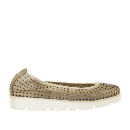Woman's ballerina shoe in pierced taupe leather wedge 3 - Available sizes:  32
