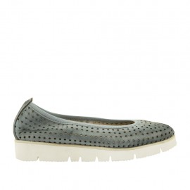 Woman's ballerina shoe in pierced blue grey leather wedge 3 - Available sizes:  32, 33, 34, 42, 43, 44, 45