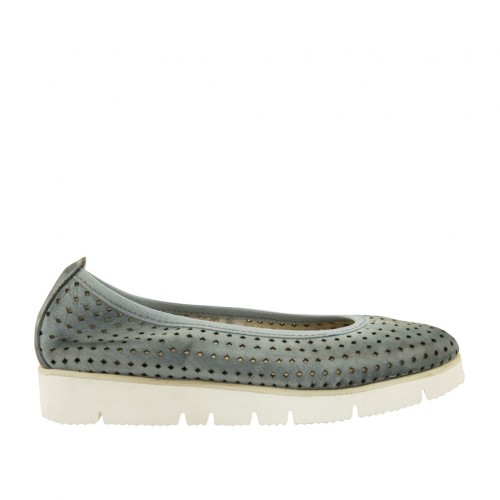 Woman's ballerina shoe in pierced blue grey leather wedge 3 - Available sizes:  32