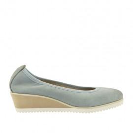 Zapato de salon para mujer en piel azul grisada cuña 4 - Tallas disponibles:  42, 43, 44