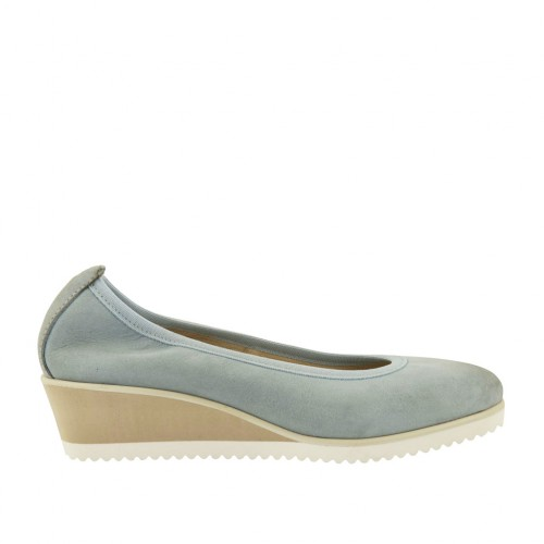 Woman's pump in blue grey leather wedge heel 4 - Available sizes:  42, 43, 44