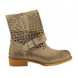 Woman's ankle boot with buckle in taupe leather and pierced leather heel 3 - Available sizes:  32, 33, 34, 44, 45