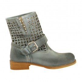 Woman's ankle boot with buckle in blue grey leather and pierced leather heel 3 - Available sizes:  33, 34, 42, 43, 44, 45