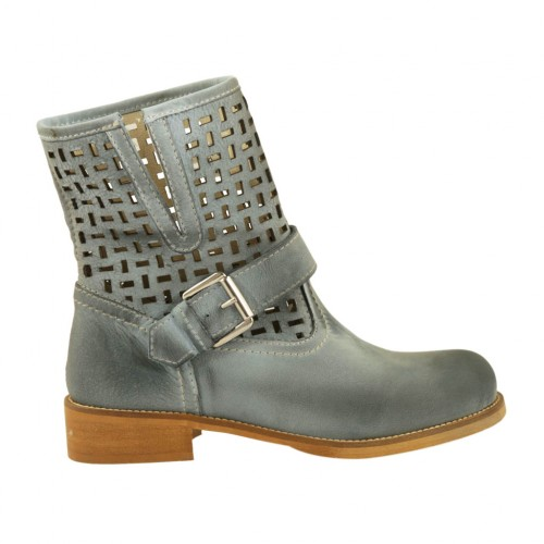 Woman's ankle boot with buckle in blue grey leather and pierced leather heel 3 - Available sizes:  33, 44