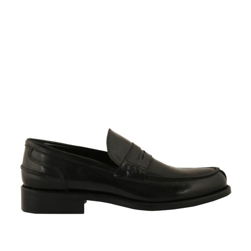 Man's elegant and classic loafer in black leather - Available sizes:  36, 37, 38, 46, 47, 48
