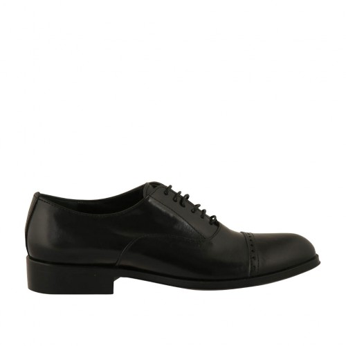 Men's laced Oxford shoe with captoe in black leather - Available sizes:  37, 47, 48, 49, 50