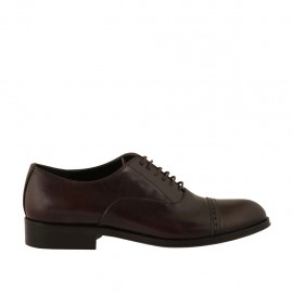 Scarpa oxford stringata con decorazioni in punta da uomo in pelle marrone - Misure disponibili: 36, 37, 38, 46, 47, 48, 49, 50