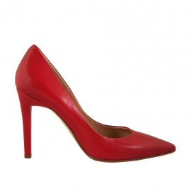 Woman's pointy pump shoe in red leather heel 9 - Available sizes:  31, 32, 42, 43, 44, 45, 46