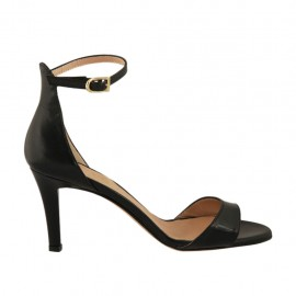 Woman's open shoe with strap in black leather heel 7 - Available sizes:  31, 42, 44