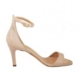 Chaussure ouvert pour femmes en cuir nue avec courroie talon 7 - Pointures disponibles:  32, 33, 34, 42, 43, 44, 45