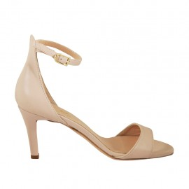 Woman's open shoe with strap in nude leather heel 7 - Available sizes:  32, 33, 34, 42, 43, 44, 45