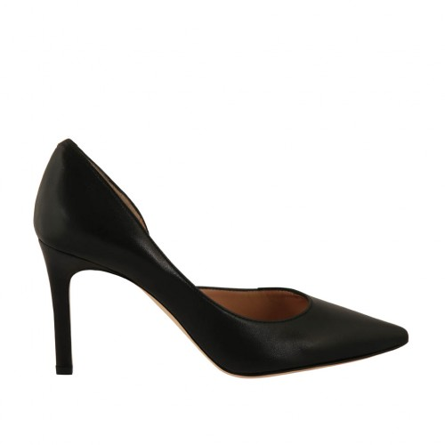 Woman's pump with sidecut in black leather heel 8 - Available sizes:  34