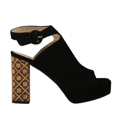 Woman's sandal in black suede with ankle strap, platform and heel 9 in printed cork - Available sizes:  42