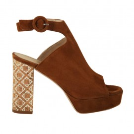 Woman's sandal in tobacco suede with ankle strap, platform and heel 9 in printed cork - Available sizes:  31, 32, 33, 34, 42, 43, 44, 45