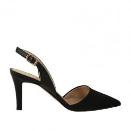 Chanel para mujer en piel y tejido negro tacon 7 - Tallas disponibles:  46
