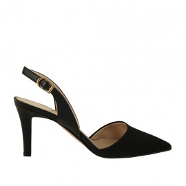Woman's slingback pump in black fabric and leather heel 7 - Available sizes:  46