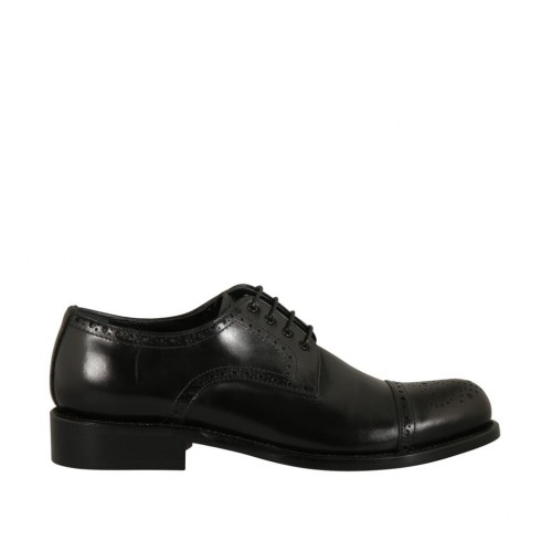Men's laced derby shoe with floral captoe in black leather - Available sizes:  50