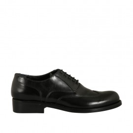 Scarpa oxford stringata decorata in punta da uomo in pelle nera - Misure disponibili: 36, 37, 38, 46, 47, 48, 49, 50