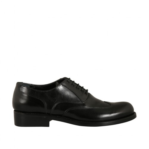 Men's laced Oxford shoe with wingtip decorations in black leather - Available sizes:  47, 48, 50