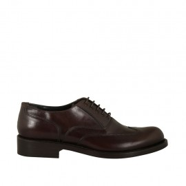 Men's laced Oxford shoe with wingtip decorations in dark brown leather - Available sizes:  36, 38, 48, 49