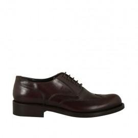 Zapato oxford con cordones y punta decorada para hombre en piel marron oscuro - Tallas disponibles:  36, 37, 38, 47, 48, 49, 50