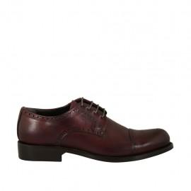 Chaussure derby à lacets pour hommes en cuir bordeaux  - Pointures disponibles:  36, 37, 38, 46, 47, 48, 49, 50