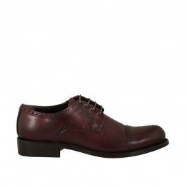 Man's laced derby shoe with floral captoe in maroon leather - Available sizes:  36, 37, 47, 48, 50