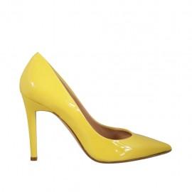 Zapato de salon en charol amarillo tacon 9 - Tallas disponibles:  33, 34, 42, 43, 44, 46