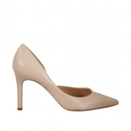 Woman's pump with sidecut in nude leather heel 8 - Available sizes:  32, 34, 42, 43, 44, 45