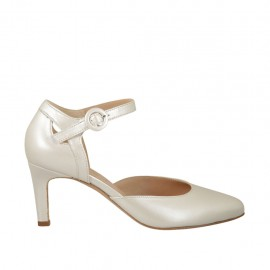 Woman's open shoe with strap in pearled ivory leather heel 7 - Available sizes:  43, 44, 45