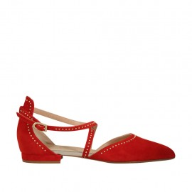 Woman's open shoe with strap and studs in red suede heel 1 - Available sizes:  33, 34, 42, 43, 44, 45