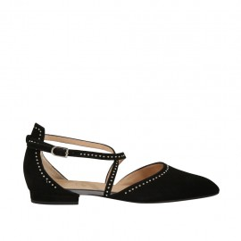 Woman's open shoe with strap and studs in black suede heel 1 - Available sizes:  33, 34, 42, 43, 45