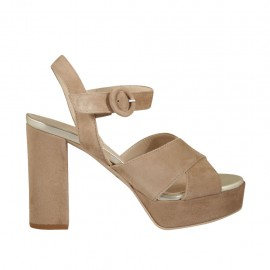 Woman's sandal with platform and strap in sand suede heel 9 - Available sizes:  31, 32, 33, 34, 42, 43, 44, 45