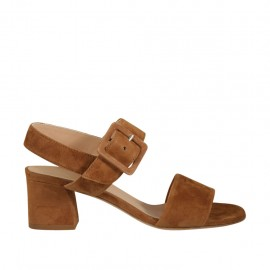 Woman's strap sandal in tobacco suede heel 5 - Available sizes:  32, 33, 34, 42, 43, 44