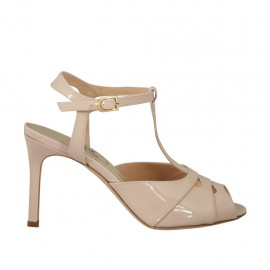 Woman's strap sandal in nude patent leather heel 8 - Available sizes:  31, 32, 33, 34, 42, 43, 44, 45