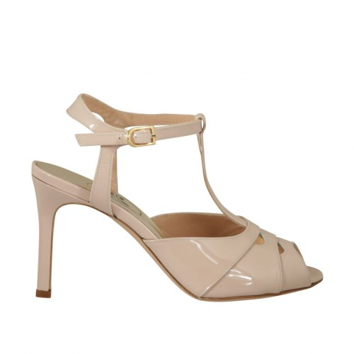 Woman's strap sandal in nude patent leather heel 8 - Available sizes:  42