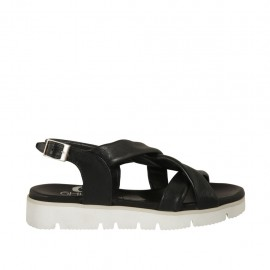 Woman's sandal in black leather wedge heel 2 - Available sizes:  33, 34, 42, 43, 44, 45