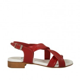 Woman's sandal in red leather heel 2 - Available sizes:  33, 34, 42, 43, 44, 45