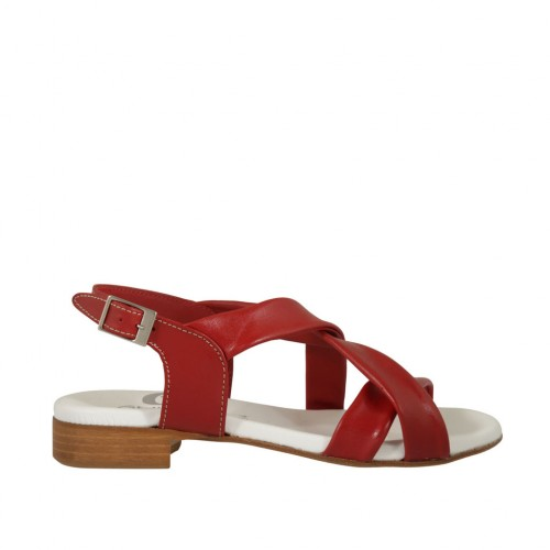 Woman's sandal in red leather heel 2 - Available sizes:  33, 42, 43