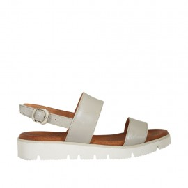 Woman's sandal in grey leather wedge heel 2 - Available sizes:  33, 34, 42, 43, 44, 45