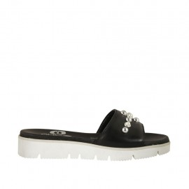 Women's open mule with pearls in black leather wedge heel 3 - Available sizes:  32, 42