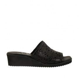 Woman's open mules in black pierced leather wedge heel 4 - Available sizes:  33, 42, 43, 45