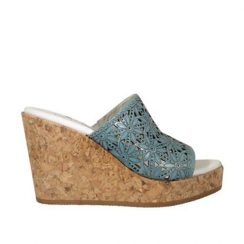 Woman's open mules in turquoise pierced leather wedge heel 9 - Available sizes:  43, 44