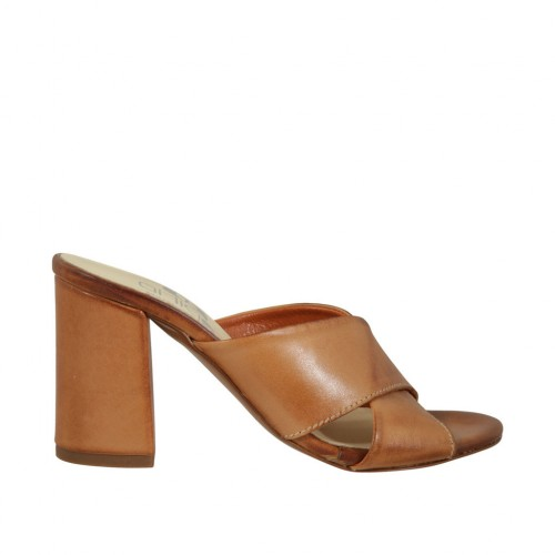 Woman's open mules in tan leather heel 7 - Available sizes:  43