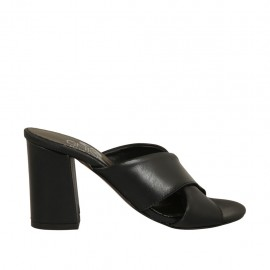 Woman's open mules in black leather heel 7 - Available sizes:  32, 33, 34, 42, 43, 44
