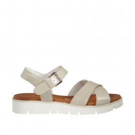 Woman's strap sandal in pearly beige leather wedge heel 2 - Available sizes:  33, 34, 42, 43, 44, 45