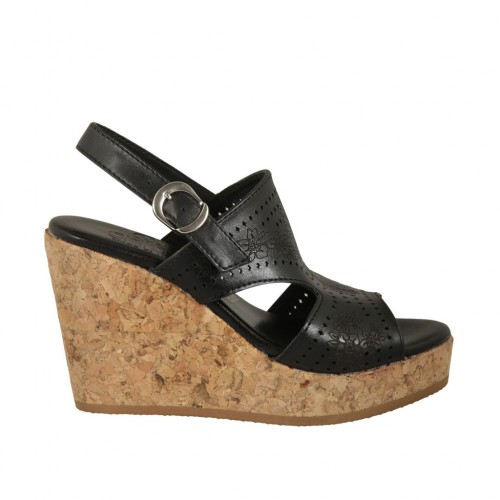 Woman's sandal in black pierced leather with platform and wedge 9 - Available sizes:  32, 34, 42, 43, 44